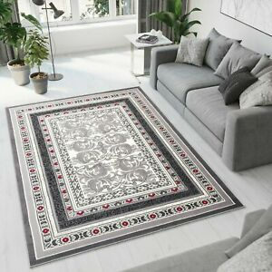 New-Rug-Traditional-Design-Small-Extra-Large-Soft-Pile-Floral-Pattern-Dark-Grey