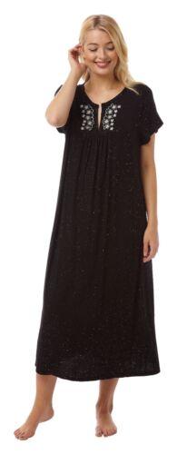 Femmes Long Doux Nuisette//Chemise de nuit manches courtes Noir Sparkle tailles 14-36