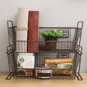 image is loading wire storage basket picnic baskets vintage bins box - Baskets For Bookshelves