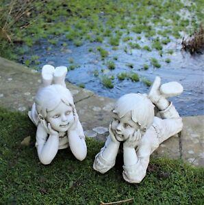 Grand Mensonge Boy & Girl Statues Home Decor & Décoration De Jardin Sculpture Ensemble Cadeau-afficher Le Titre D'origine