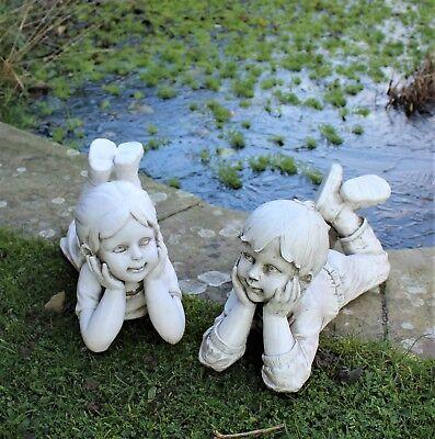 Grande Disteso Boy & Girl Statue Home Decor & Decorazione Giardino Scultura Gift Set-