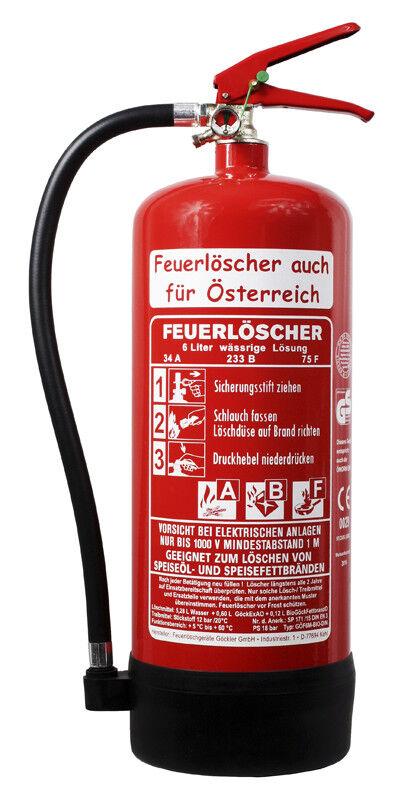 6 L Feuerlöscher auch für Österreich Fettbrand ABF BIO DIN EN 3 GS Küche Hot ...