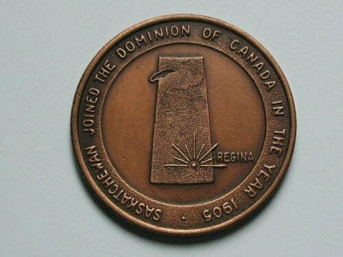 1905 Saskatchewan CANADA Confederation Medal with Wheat Farm Combine /& SK Map