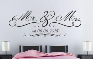 Mr Mrs Hochzeit Jahrestag Schlafzimmer Geschenk Deko Wandaufkleber Wandtattoo Ebay