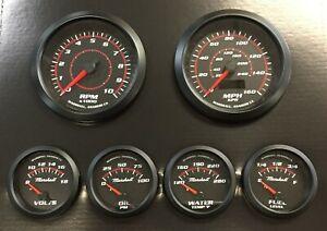 C2 Redline 6 Gauge Set, Black Bezels, 240-33 Ohm Fuel Level, Electric Speedo
