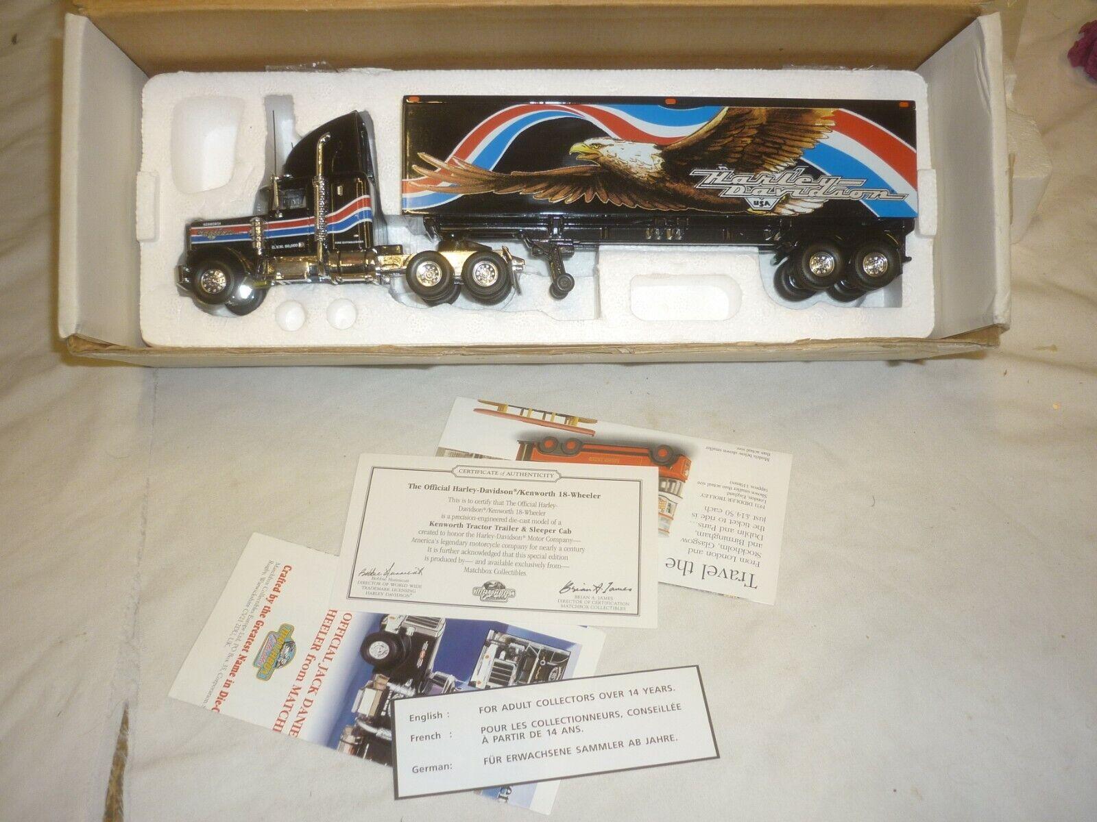 Un modelo a escala MATCHBOX de un camión Peterbilt con American Eagle Remolque, En Caja