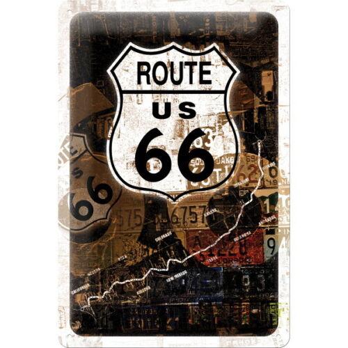 22115 Blechschild 20 x 30 Werbeschild Art Collage Route 66 Rost