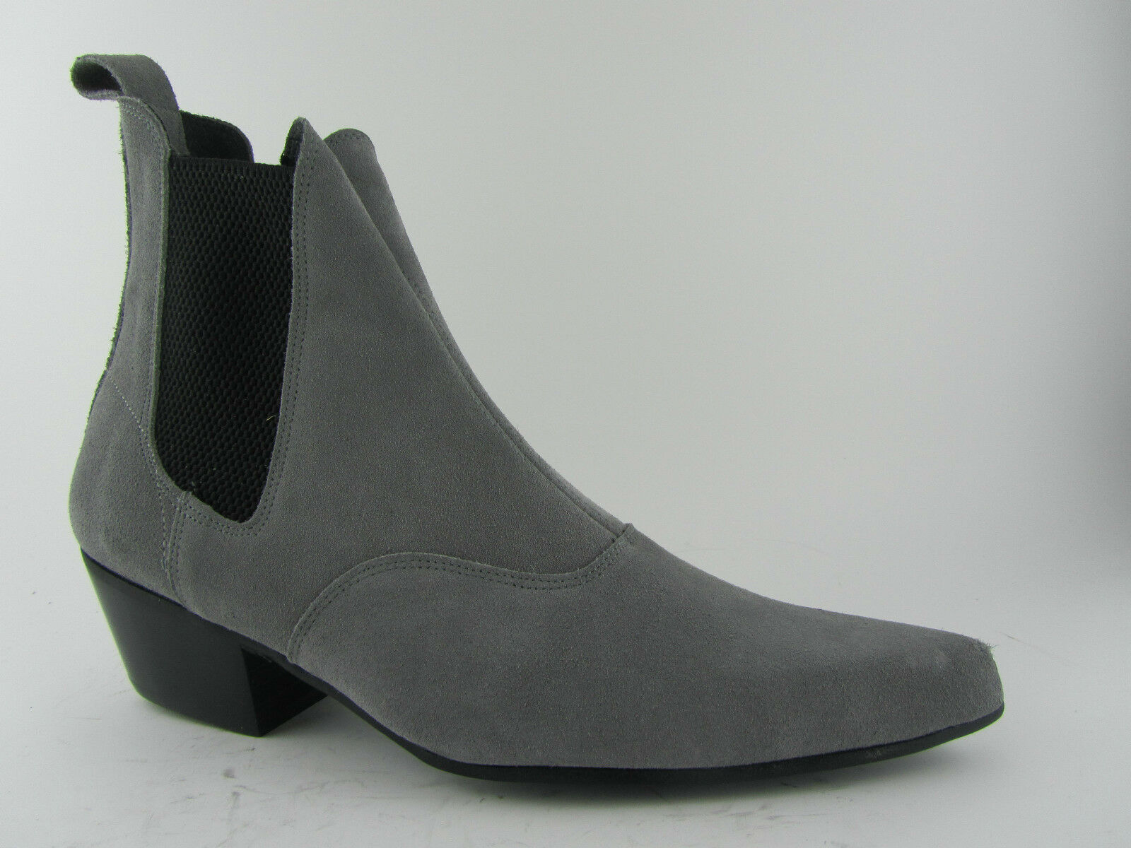 Retro Mens Grey Suede Chelsea Beatle Beat Boot Cuban Heel Pointed Toe Boots