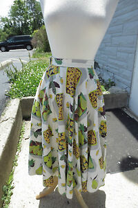 AWESOME-Huge-Swing-Skirt-1950-039-s-Vintage-Tan-Olive-Yellow-Fruits-Veg-rockabilly