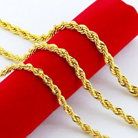 Mens 5mm 24K Yellow Gold Filled Rope Chain Necklace Long 20 22 24 26 28 30 inch