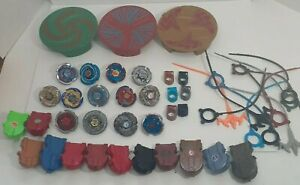 Beyblade Lot Metal Fusion Beyblades  Launchers Rip Cords 2010 Tomy Beyblade Lot