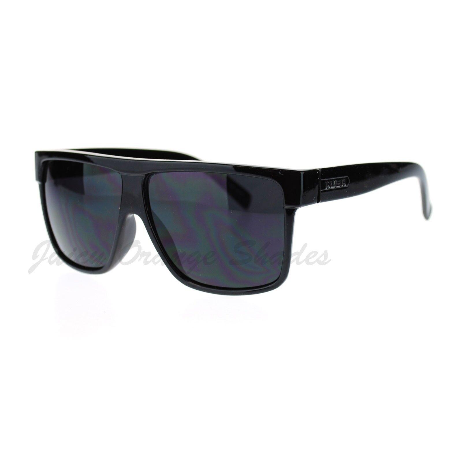 KUSH Men/'s Sunglasses Flat Top Square Frame Black Dark Lens