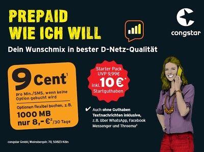 Congstar Prepaid Wie Ich Will 9 Cent Tarif Telkom Netz 10 Guthaben D1 Netz Ebay