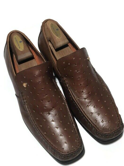 Ben Sherman Men Cognac Perforated Holes Leather Slip On Loafers - Size 12 13