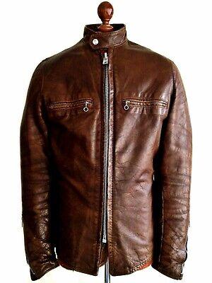 Vintage Da Uomo 60s Kehoe Leather Cafe Racer Moto Biker Bike Jacket Coat Usa Sml-mostra Il Titolo Originale Lustro Incantevole