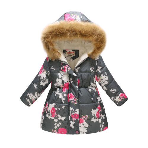 3-7T Toddler Baby Girls Kids Warm Hooded Wind Dust Coat Winter Jacket Outerwear