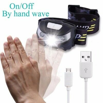 Head Torch USB Sensor Wiederaufladbar LED Stirnlampe 5 Lichtmodi Kopflampe IPX4