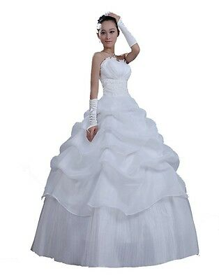 Cheap Good Quality Strapless Women's Wedding Dresses Bridal Gowns Lace Up Bride