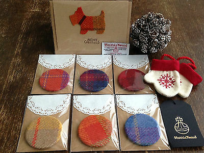 Harris Tweed Fabric Hand Bag Pocket Mirror - 10p extra p&p for each additional
