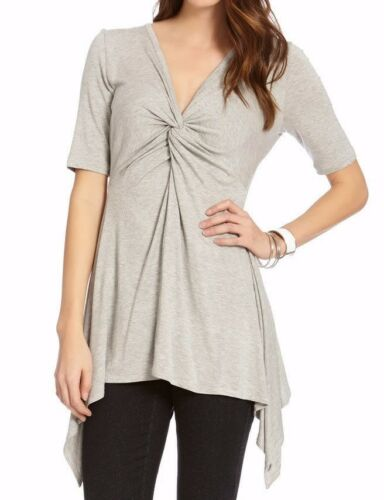 Karen Kane 2L13383 Lt Heather Gray Stretch Pencil Slv Handkerchief Knot Top $79