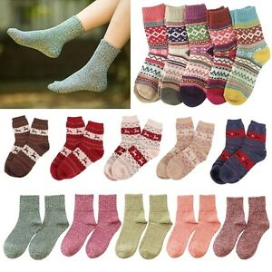 e1ead539e 5 Pairs Women Wool Cashmere lady Thick Winter Socks Warm Soft Solid ...