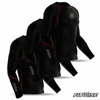 Mens compression base layer Armour Top Long Sleeve Skins Tight Body Fit Shirt