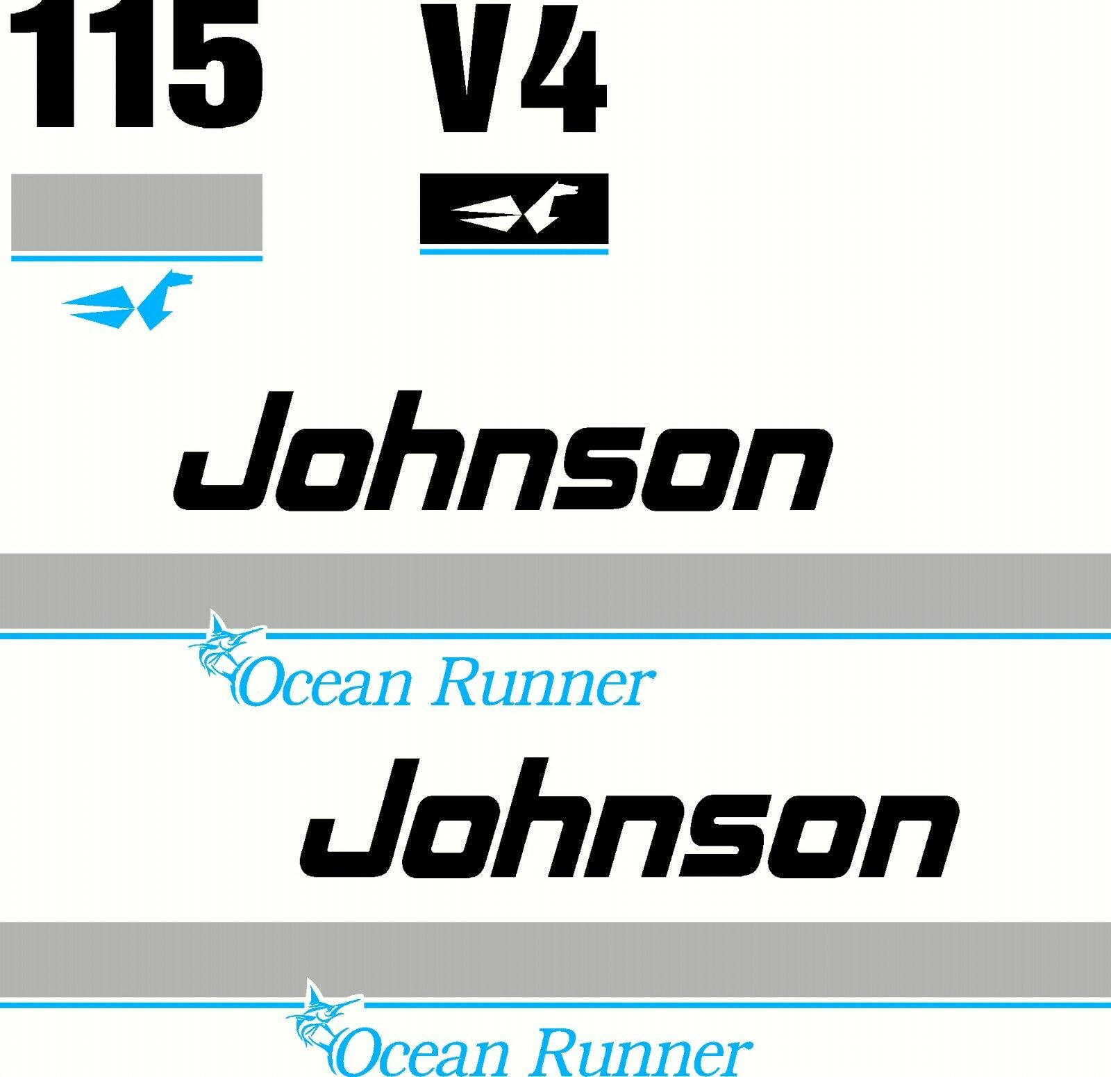 Johnson Ocean Runner V4 115 Fishing Boat 4 Colour Sticker Decal Marine Set of 4