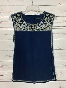 THML-Stitch-Fix-Women-039-s-Petite-Extra-Small-XSP-Navy-Embroidered-Top-Blouse-Tank