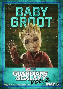 Guardians of the Galaxy Vol 2 Movie Poster (24x36) - Baby Groot, Vin Diesel v8