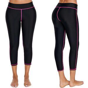 Swim LEGGINGS Rashie CAPRI Pants SWIMWEAR Separates LONG Black BOTTOMS Pink TRIM