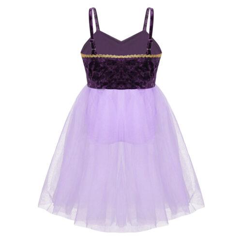 Children Girls Shiny Lyrical Ballet Dance Dress Stage Performance Tulle Costumes