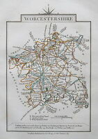 WORCESTERSHIRE 1828 Miniature Antique Map by Cary Hand Coloured