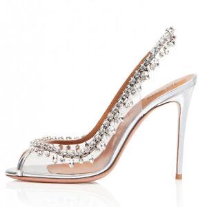 Women Peep Toe High Heel Slingbacks Crystal Silver Ladies Wedding ... 393fe75dd4f7