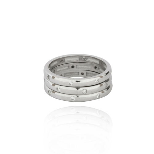 Set of 3 Sterling Silver 925 Cubic Zirconia xl polished eternity band ring