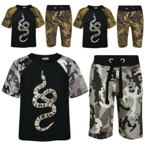 Kids Boys T Shirts Shorts Designer 100/% Cotton Snake Print Top Short Set 5-13 Yr