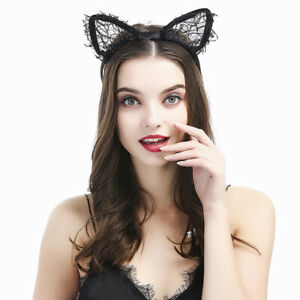 Ouinne Paillettes Chat Oreilles Cheveux Bandeau Serre-T/ête Costum/ée Parties Halloween de Carnaval de No/ël Cosplay 4 Pi/èces Chat Oreille Bandeau