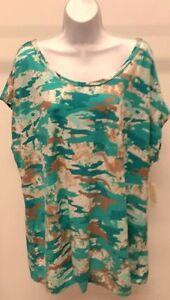 NWT-Bobbie-Brooks-Women-039-s-Multi-Color-Camouflage-Top-Shirt-Size-L