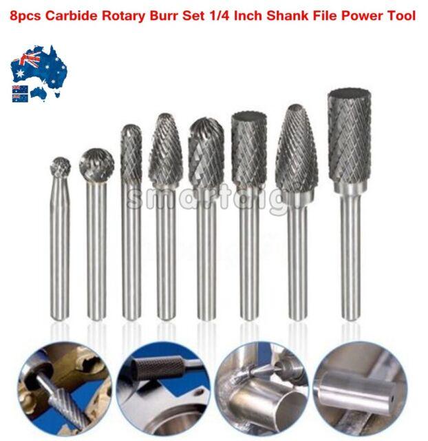 8Pcs 1/4'' Shank Double Cut Carbide Rotary Burr Bur Die Grinder Carving Bit Set