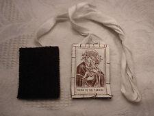 altes kleines Skapulier Stoff Maria SS. del Carmine Mutter Gottes Madonna