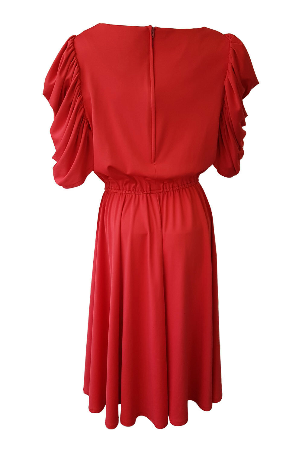 UNBRANDED UNBRANDED UNBRANDED VINTAGE RED PUFFED SLEEVE DIAMANTE BOW DRESS c34a28