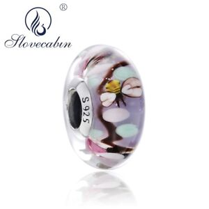 925-Sterling-Silver-suits-Pandora-Enchanted-Garden-Charm-Murano-Glass-Bead-NEW