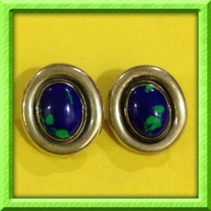 Vintage-925-Sterling-Silver-Azurite-Malachite-Clip-On-Earrings-Signed-s-J