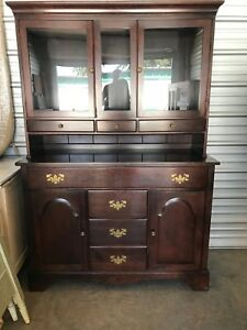 Image Is Loading Beautiful Sherwood Antique Solid Cherry Wood Hutch China