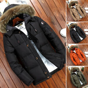 New-Mens-Warm-Duck-Down-Jacket-Fur-Collar-Thick-Winter-Hooded-Coat-Outwear-Parka