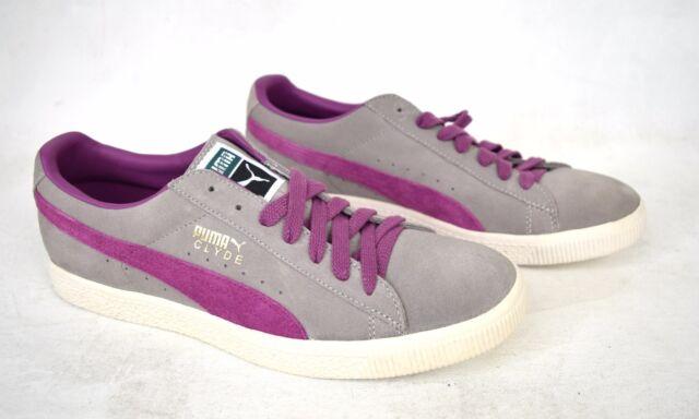 Buy PUMA Shoes Clyde Limestone Gray Dahlia Purple SNEAKERS 11 Mens ... cf86694303