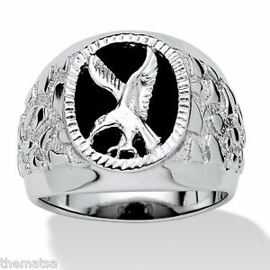 MENS-OVAL-STERLING-SILVER-EAGLE-ONYX-RING-SIZE-8-9-10-11-12-13