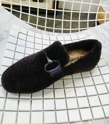 Women Flat Velvet Shoes Casual Thicken Warm Loafers Outdoor Round Toe Slip On