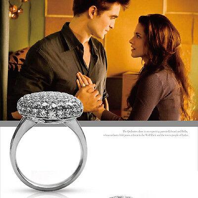 Women Fashion Crystal Rhinestone Silver Tone Wedding Engagement Ring Size 6-10