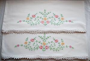 Vintage-Bordado-Almohada-Rosa-Flores-Encaje-de-Croche-Edge-1930s
