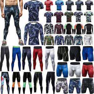 Men-039-s-Compression-Base-Layer-Sports-Skinny-Fitness-Pants-T-Shirt-Tight-Leggings